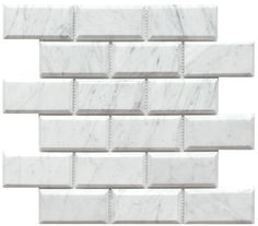 "Carrara (Carrera) Venato 2x4"" Wide Beveled Polished Marble Mosaic"