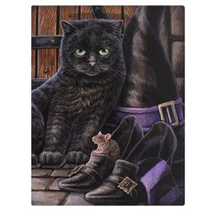 This gorgeous wall canvas is by famous artist Lisa Parker It depicts a cat and mouse surrounded by witches hat and shoes It would make the ideal gift