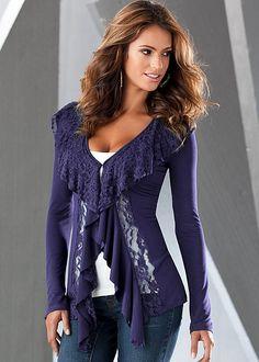Lace detail knit cardigan by VENUS