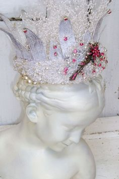 Heavily embellished crown white pearls pink by AnitaSperoDesign, $175.00