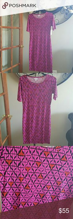 NWT Lularoe Julia Pink & Orange Diamond Dress S Not entirely sure I want to sell this one I've just bought so much lularoe lately I feel like I need to downsize. Gorgeous diamond summer print. NO TRADES PLEASE DON'T ASK ME! LuLaRoe Dresses Midi