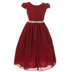 Shop for Kiki Kids Girls Burgundy Chiffon Rhinestone Waist Christmas Dress. Free Shipping on orders over $45 at Overstock.com - Your Online Children's Clothing Outlet Store! Get 5% in rewards with Club O! - 24619504