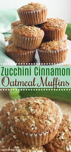 These Zucchini Oatmeal Muffins use shredded zucchini, cinnamon and brown sugar. They're full of flavor and no one will know that you're serving them a vegetable! Find the recipe at gracefullittlehoneybee.com #muffins #oatmeal #zucchini Muffins Zucchini, Zucchini Bread, Zucchini Desserts, Zucchini Cupcakes, Zucchini Banana, Garlic Bread, No Bake Desserts, Dessert Recipes, Dinner Recipes