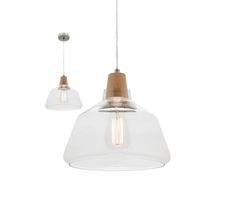 Laya Timber Large Pendant Light with Glass Shade Mercator MG6531L, $138.00