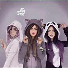 best friends images Girly_m Tumblr Drawings, Girly Drawings, Cool Drawings, Sarra Art, Best Friend Drawings, Best Friends Forever, Three Best Friends Quotes, Dream Friends, Friends Girls