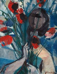 Woman with Poppies,  Sigmund Joseph Menkes. (1896 - 1986)