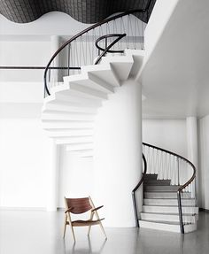 Functional and sculptural, with an exceptional finish, Hans J. Wegner's 1952 lounge chair design features many of the master's signature elements Modern Furniture, Furniture Design, Lounge Chair Design, Danish Modern, Danish Design, Decor Interior Design, Simple Designs, Stairs, Staircases
