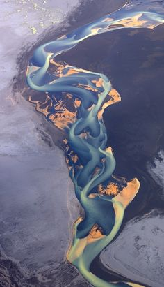 Volcanic ash rivers in Iceland
