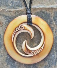 Maori Koru Bone Carving Necklace representing new life, unity and family.  www.boneart.co.nz