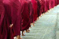 monks on a line