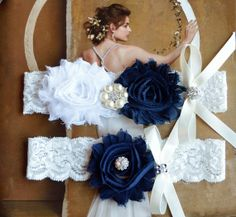 Navy Wedding Garter White Lace Wedding Garter by HelensCouture, $21.00