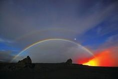 Double moonbow appearing over the lava ocean entry A rare moonbow is made from moonlight instead of sunlight. It's one of weather's most spectacular and fleeting sights. This picture was taken of a moonbow over a lava flow in Hawaii. Photograph: how to send large files