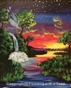 """Get in on all the painting fun with friends and create your own """"Awesome Waterfall Tree"""" (Wednesday, Aug 10 @ 7pm)"""