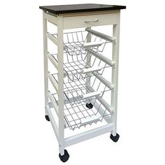 This classy kitchen trolley is made from sturdy pine wood and has 4 tiers with a drawer for extra storage. Furthermore, this versatile trolley features a smooth top surface. Kitchen Trolley Cart, Kitchen Storage Cart, Kitchen Cabinet Styles, Kitchen Organization, Organizing, Kitchen Cabinets, Pantry Storage, Kitchen Drawers, Kitchen Units