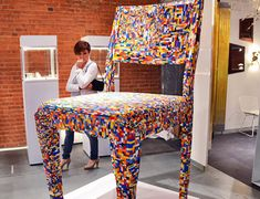 This larger-than-life chair Lego chair was constructed by Alessandro Jordão's as part of a group show called during NY Design Week in 2012. The chair was part of a larger collection of Lego creations made for the show.