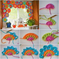 DIY Beautiful Crochet Flower Power Valance! I love the idea to make crochet flowers into a valance. So gorgeous! Cheerful colors perfect for summer! #greatsummerdecor #colorfulvalancecurtain #awesomecrochetcurtainidea
