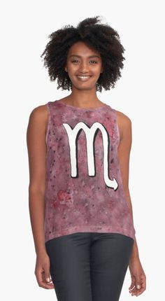"""""""Zodiac sign : Scorpio"""" Contrast Tank by @savousepate on @redbubble #contrasttank #tanktop #clothing #apparel #watercolor #painting #astrology #astrologicalsign #zodiacsign #scorpio #purple #white"""