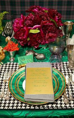malachite and houndstooth...a 19,000 dollar place setting