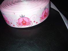 7/8+grosgrain+printed+ribbon++5+yards++pink+pumpkin+by+RockerBoo,+$6.75