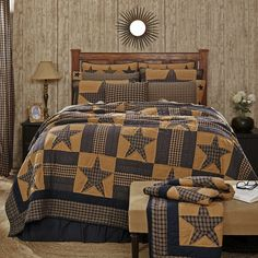 Ben Franklin Online - Quilt- Teton Star- VHC, $89.99 (http://www.benfranklinonline.com/quilt-teton-star-vhc/) The Teton Star quilt from Victorian Heart is available in twin, queen, king and luxury king sizes, so you're sure to find the perfect size quilt for you! This quilt is colored navy and khaki and is decorated with stars and bars. All items used in the making of this quilt are 100% cotton, so each quilt is soft and very warm.