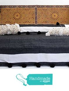 Moroccan Pom Pom Blanket Throw Bedspread, Hand Woven with 100% quality COTTON, All Year Round Bedding, Pearl White and Black Stripes. (BC11) from BerberWares https://www.amazon.com/dp/B01DT257D0/ref=hnd_sw_r_pi_dp_LTWGxbGBDSVVR #handmadeatamazon