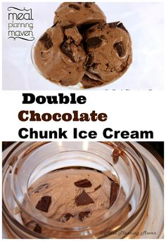 Double Chocolate Chunk Ice Cream l Meal Planning Maven l Attention Serious Chocoholics! Your search for an ultra-creamy bowl of chocolate ice cream heaven ends right here! And…for those that are looking for a dairy-free ice cream, this recipe replaces the traditional milk and cream with unsweetened coconut milk. Now you can indulge without guilt!