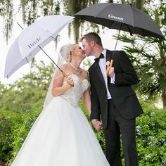 Matching Bride and Groom Umbrellas for Spring Wedding