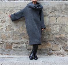 Grey Oversized dress Maxi dress Wool dress by cherryblossomsdress