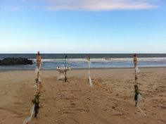 Tiki Torches and star fish aisle set up at Spring Lake Beach, Spring Lake New Jersey- my seaside package