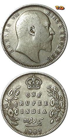 N♡T. 1907 British India - Silver One Rupee - King Edward VII