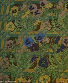 Stanislaw Wyspianski - Pansies, Detail of a Polichromy - malarze.com -- Malarze Polish Art Gallery - Polish Art of Painting and Painters - pl: Malarze Polscy i Sztuka Polska