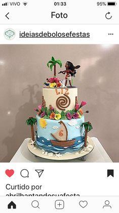 Moana Birthday Party, 2 Birthday Cake, Moana Party, Minnie Birthday, Festa Moana Baby, Bolo Moana, Nautical Cake, Cool Cake Designs, Beach Cakes