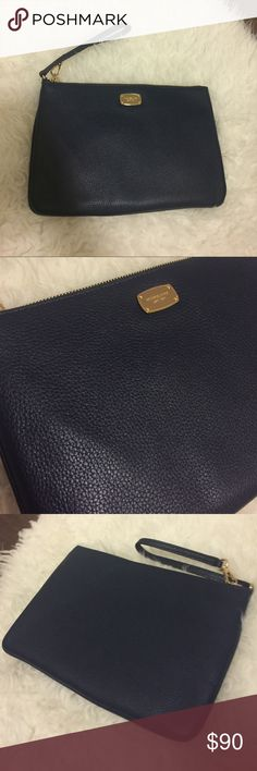"Michael Kors XL Navy Blue Jetset Clutch NWT Brand new with tags. Leather with gold hardware. 11"" x 7"". Michael Kors Bags Clutches & Wristlets"