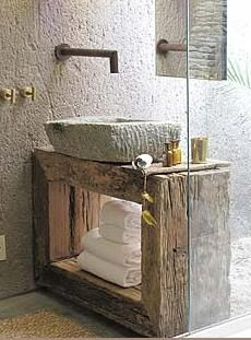Eco-friendly repurposed 'green' bathroom - sink and side faucet, cement basin, vintage wood crate/box