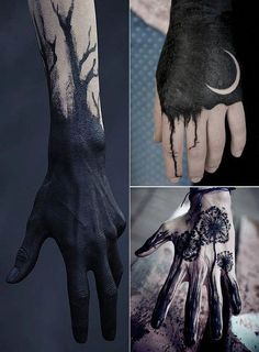Solid Black Tattoo: 100 inspirations for daring black tattoos. Solid Black Tattoo: 100 inspirations for daring black tattoos. Tattoo Trend, Dark Tattoo, Body Art Tattoos, Sleeve Tattoos, Finger Tattoos, Black Sleeve Tattoo, Black Art Tattoo, Solid Black Tattoo
