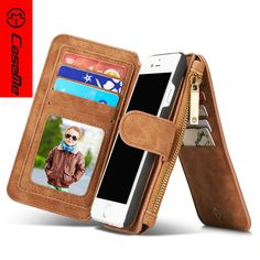 Brand CaseMe Case for iPhone 7/7Plus,Second Leather Wallet Case for iphone 6/6Plus cover magnetic Zipper Multifunctional case