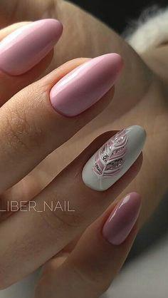 Cute Nail Art Designs, Short Nail Designs, Beautiful Nail Designs, Perfect Nails, Gorgeous Nails, Oval Acrylic Nails, Feather Nail Art, Glitter Accent Nails, Wedding Nails Design