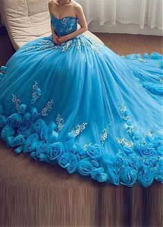 Wedding Dresses Ball Gown, Charming Tulle & Organza Strapless Neckline Ball Gown Prom Dresses With Beaded Lace Appliques & Handmade Flowers DressilyMe Quince Dresses, 15 Dresses, Ball Dresses, Pretty Dresses, Beautiful Dresses, Girls Dresses, Wedding Dresses, Unconventional Wedding Dress, Joko