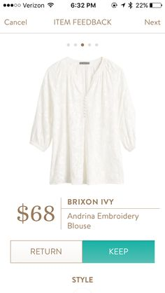 Dear Stitch Fix Stylist - This blouse has such beautiful embroidery detail. Would look perfect with my floral blue and white capris.