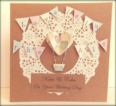 "Handmade Wedding Card. Hot Air Balloons. ""Love is in the air"" #FromLeoniWithLove by FromLeoniWithLove, £4.45"