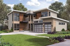 You can have it all in this spacious Contemporary house plan that is loaded with amenities.The home is designed with a large, open floor plan and both a butler's pantry and a walk-in food pantry.There's even a walk-in coat closet and built-ins in the family foyer off the garage.You can use the den as a guest bedroom since it has a closet and private bathroom.Sliding glass doors on two walls lead out to the covered rear porch that has an outdoor fireplace.The upscale master bedroom has...