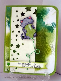 My Creative Room: Thinking Spring and Green! Cat and balloon card for Newton's Nook Designs Inky Paws Challenge 7 - Go green!
