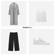 Schöner langer Mantel, Top mit Spaghettiträgern, 7/8 Stoffhose und Leder-Sneaker mit Klettverschluss. Hier entdecken und shoppen: http://sturbock.me/YkH