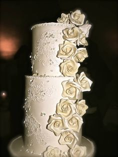 my masterpiece for my sisters wedding, replicate of her veils lace and lots of edible diamonds and hand made roses....thanks mom for helping!!!- lemon sponge with lemon curd and buttercream filling, chocolate devilscake with chocolate truffled filling and vanilla poundcake with vanilla and chocolate buttercream filling
