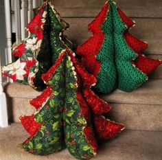 Love these stuffed fabric Christmas trees - hopefully will be able to find a tutorial online somewhere!