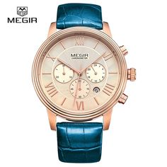 23.00$  Buy here - MEGIR Brand Men Business Casual Quartz Watch Leather Strap Analog Wristwatch WaterProof Auto Date Clock relogio masculino 2012  #magazineonline