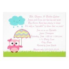 Pink Owl Baby Sprinkle Invitation