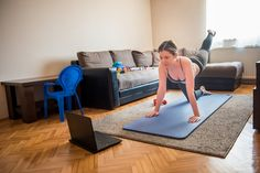 Youtube Workout Videos, Aerobics, Stay Fit, Young Women, Floor Chair, Pilates, Stock Photos, Living Room, Home Decor