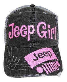 "NEW! Neon Pink Glitter ""Jeep Girl"" Grey Trucker Cap! Order at www.shopspiritcaps.com"