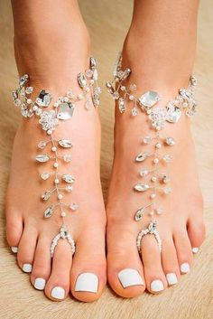 Silver Crystal Barefoot Sandals Barefoot Shoes Sole-less Silver foot jewelry by Forever Soles. Shop now in our ETSY store with discount code: Jeweled Sandals, Beaded Sandals, Silver Sandals, Silver Bridal Shoes, Bridal Sandals, Silver Shoes, Beach Wedding Shoes, Beach Shoes, Crochet Barefoot Sandals